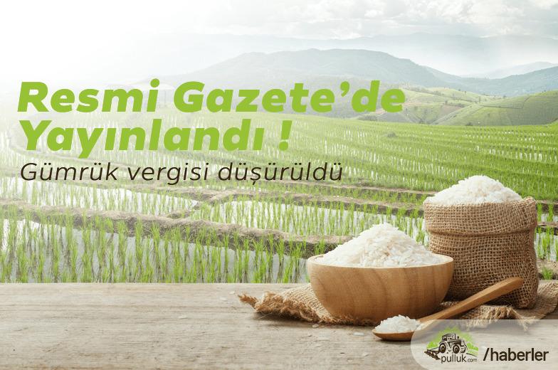 Pirinç ve Çeltik'te Gümrük Vergisi 30 Nisan 2021'e Kadar Kaldırıldı
